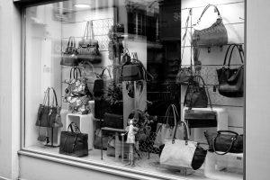 bags in shop window
